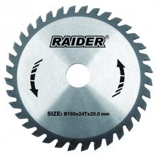 Пильный диск по дереву 160x24Tx20.0мм Raider 163106