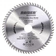 Пильный диск по дереву 190x60Tx30.0мм Raider 163148