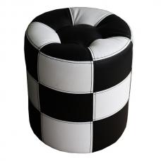 Мягкий стул Пуф круглый черно-белый