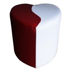 Мягкий стул Пуф сердце белый-красный