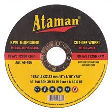 Диск отрезной по металлу 125x1.6x22.23мм Ataman 1413