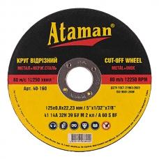 Диск отрезной по металлу 125x0.8x22.23мм Ataman 2100