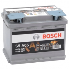 Аккумулятор 12V 60AH 680A Bosch S5 A05 AGM 0092S5A050