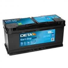 Аккумулятор 12V 105Ah 950A Deta DK1050 Micro-Hybrid AGM